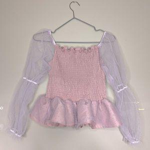 SHEIN Pink Smocked Off-The-Shoulder Polka Dot Mesh Peplum Sleeve Top!